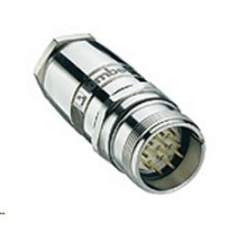 M23 Field attachable connector, male connector 12-pole with threaded joint, external thread, assembling with solder connections