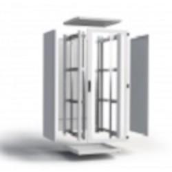 """42U RMF 19"""" CABINET FLATPACK  800X1000MM FRONT GLASS DOOR+  BACKMETAL PANEL GREY"""