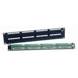 Patch Panel, 48 Port, UTP, Unshielded, Telco-Mod 8W8P, T568B Wiring, 2U, Black
