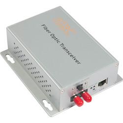 "1000Mbps PoE Ethernet LAN fiber optic media converter ""A"" side, 1 fiber, 1310/1550 nm single-mode, 20 dB optical loss budget. 30Km range. Desktop module, ST connector, US power plug."
