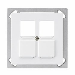 SWISS 4 PORT DUCT MOUNT FACEPLATE FOR USE WITH AVAYA 70 X 70 MM, COLOR WHITE