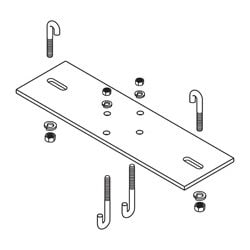 """2-Post Rack Mounting Kit for 12"""" Wide Cable Runway/Ladder Rack, Flat Black"""