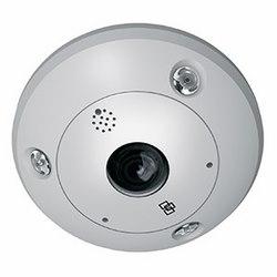 TruVision 360º Dome, 3 MPx, WDR, 1.19 mm Fisheye Lens, True D/N, 10 m IR, 2-Way Audio (Built-in Mic and Speaker), SD/SHDC Slot, PoE (802.3af) /12 V DC, IP66, IK10, NTSC