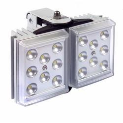 "Light Illuminator, 2-Panel, RAYLUX, 100 to 230 Volt AC, 25 Watt, 16-LED, White Light, 50 to 100 Degree, 6"" Length x 4"" Width x 2"" Depth, Silver, With PSU"
