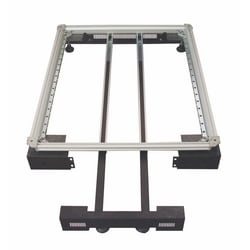 Plinth With Anti-Swing Kit For Aluminum Frames, Pull-Out Stabilizer, 1.5 mm Steel, 90mm (H) X 800mm (W)X 800 mm (D), Light Grey