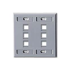 Wall Plate, 6-Port Double-Gang, With ID Windows, Grey