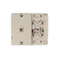 Telephone wall jack, 6P6C, Screw Terminal, Ivory, Plastic wall plate snaps on to mounting plate.
