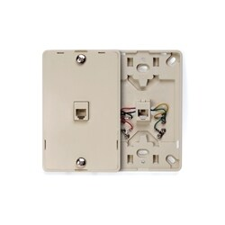 Telephone Wall Jack, 6-position 4-Conductor, Screw Terminal, Ivory, Plastic Wallplate Snaps On To Mounting Plate