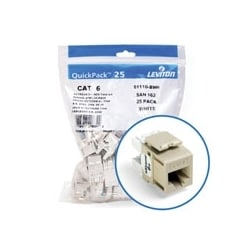 eXtreme 6+ QuickPort Connector Quickpack, Category 6, 25-pack, Ivory