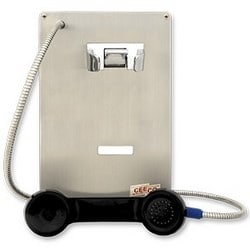 Stainless Steel Autodial panel TelePhone for Ring-down Operation, Indoor/Outdoor - Can Flush Mount, Install in a (WPP) Weatherproof or (HOB) Weather-resistant Housing