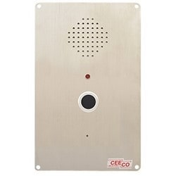 Durable Hands-Free Speaker Phone with Autodial Push Button for Ring-down Operation. Can be Flush Mount or Installed in a (WPP) Weatherproof or (HOB) Weather-resistant Housing.