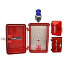 Haut parleur rouge d'urgence Autodial résistant aux intempéries avec anneau bleu Indicaor lumière, les Conditions météorologiques les plus difficiles et des espaces intérieurs pour une Protection supplémentaire