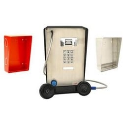 Weather-resistant Phone with keypad & Blue Ring Indicator light. Attraractive & sturdy units are designed for indoors or partially protective outdoor areas.