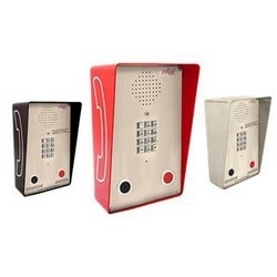 Red Weather-resistant Speakerphone with keypad & push button autodial. Attraractive & sturdy units are designed for indoors or partially protective outdoor areas.