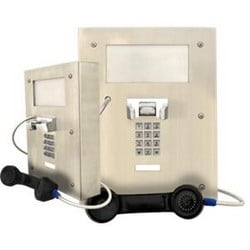 Large Heavy Duty flush or wall mounted telephone with keypad & advance features.