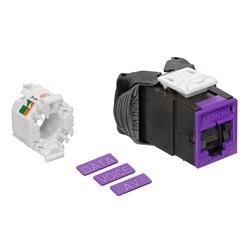 Mod Jack, Atlas-X1, Category 5e UTP Connector, With Shutters, Purple
