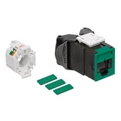 Mod Jack, Atlas-X1, Category 5e UTP Connector, With Shutters, Green