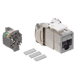 Mod Jack, Atlas-X1, Category 6 Shielded Connector, With Shutters, Grey