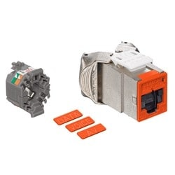 Mod Jack, Atlas-X1, Category 6 Shielded Connector, With Shutters, Orange