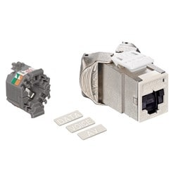Mod Jack, Atlas-X1, Category 6A Shielded Connector, With Shutters, Ivory