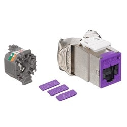 Mod Jack, Atlas-X1, Category 6A Shielded Connector, With Shutters, Purple
