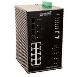 Commutateur 10/100/1000BASE-TX à 8 ports géré à distance avec PoE + et quatre ports Gigabit Ethernet SFP, température de fonctionnement de - 40 à + 70C.