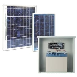 "Solar Power Supply, Boxed, 12 Volt, 10 Watt, 9 Amp-Hr Battery, 14-1/2"" Length x 12-3/16"" Width x 11/16"" Depth Enclosure"