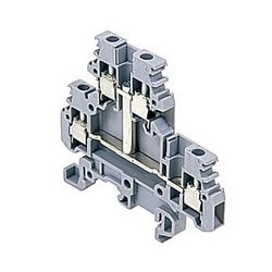 Gray double-deck terminal block 20 Amps UL rated with a screw clamp connection that accepts 22-12 AWG wire range