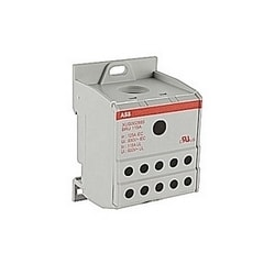 Gray, single pole distribution block with 115 amp rated current with screw clamp connection that accepts 8-2 AWG UL wire range line side and 14-4 AWG on the load side