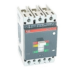 3 pole, 40 amps rated at 600V AC/DC, Tmax molded case circuit breaker with a thermal magnetic trip device and 25kA at 480V AC interrupt current rating