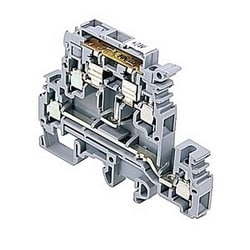 Gray LED fuse holder terminal blocks double-deck for 5 x 20 and 5 x 25 mm fuses, 20 Amps UL rated with a screw clamp connection that accepts 24-12 AWG wire range