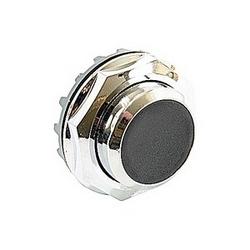 Bouton-poussoir modulaire, momentané avec bouton noir non éclairée et montage 30mm Cadran métal chrome