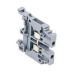 Gray standard terminal blocks, 30 Amps UL rated with a screw clamp connection that accepts 24-10 AWG wire