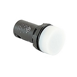 Compact illuminated pilot light with white lens and 22mm mounting