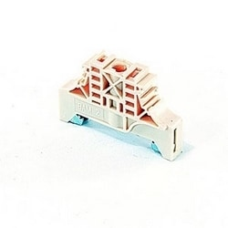 Beige type BAM2, 10 mm end stop with screws for DIN 3 mounting