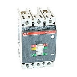 2 pole, 125 amps rated at 600V AC and 500V DC, Tmax molded case circuit breaker with a thermal magnetic trip device and 25kA at 480V AC interrupt current rating