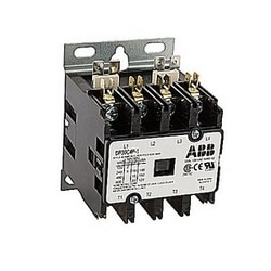 4 pole, 30 amp, non-reversing, definite purpose contactor, 120V AC coil, industry standard mounting plate