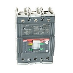 3 pole, 125 amps rated at 480V AC and 500V DC, Tmax molded case circuit breaker, 100% rated with a thermal magnetic trip device and 25kA at 480V AC interrupt current rating