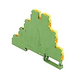 Green and yellow triple-deck terminal blocks with ground protection with 6 mm spacing and screw clamp connection that accepts UL 22 - 12 AWG wire range