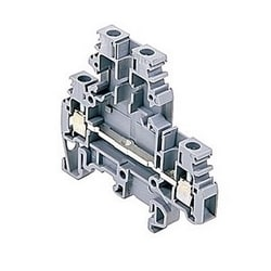 Gray double deck terminal blocks, 20 Amps UL rated with a screw clamp connection that accepts 24-12 AWG wire