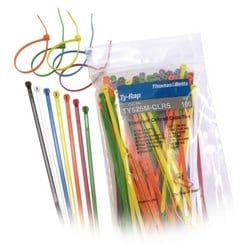 "Cable Tie 50lb 7"" Natural Nylon Multi-Colored with Stainless Steel Locking Device, 10 of each Standard Color"