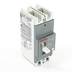 2 pole, 15 amps rated at 240V AC and 250V DC, fixed trip point molded case circuit breaker, with a thermal magnetic trip device and 10kA at 240V AC and 5kA at 250V DC interrupt current rating