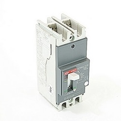 2 pole, 70 amps rated at 240V AC and 250V DC, fixed trip point molded case circuit breaker, with a thermal magnetic trip device and 10kA at 240V AC and 5kA at 250V DC interrupt current rating