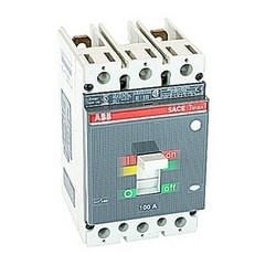 2 pole, 100 amps rated at 600V AC and 500V DC, Tmax molded case circuit breaker with a thermal magnetic trip device and 25kA at 480V AC interrupt current rating
