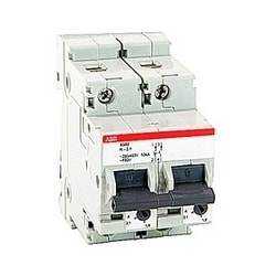 2 pole, 2.1 amp rated at 600Y/277 V AC, UL 1077 series miniature circuit breaker with thermal-magnetic trip device, K trip curve, and 30kA interrupt current rating