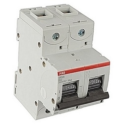 2 pole, S800, 32 amp screw terminated miniature circuit breaker with a B tripping characteristic