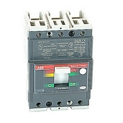 3 pole, 90 amps rated at 240-480V AC, Tmax molded case circuit breaker with a thermal magnetic trip device and 65kA at 480V AC interrupt current rating