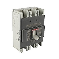 3 pole, 175 amps rated at 240V AC and 250V DC, fixed trip point molded case circuit breaker, with a thermal magnetic trip device and 25kA at 240V AC/DC interrupt current rating