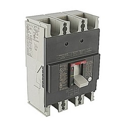 3 pole, 200 amps rated at 240V AC and 250V DC, fixed trip point molded case circuit breaker, with a thermal magnetic trip device and 25kA at 240V AC/DC interrupt current rating