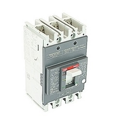 3 pole, 50 amps rated at 240V AC and 250V DC, fixed trip point molded case circuit breaker, with a thermal magnetic trip device and 10kA at 240V AC and 5kA at 250V DC interrupt current rating